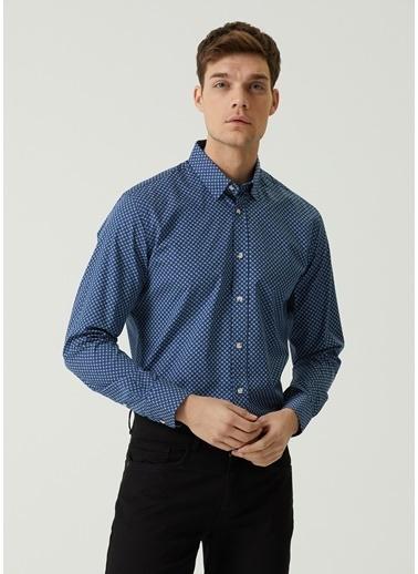 Beymen Club 101597401 Slim Fit Polo Yaka Çiçek Desenli Erkek Gömlek Lacivert
